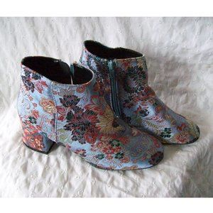 Qupid Blue Satin Embroidered Floral Brocade Bootie